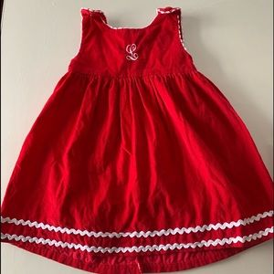 Personalized 2T L corduroy red dress